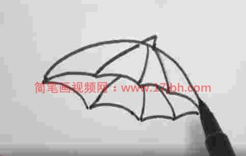 卡通雨伞简笔画