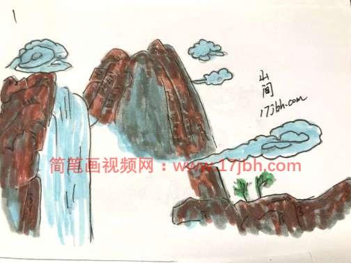 山水风景简笔画