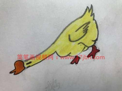 大白鹅简笔画带颜色