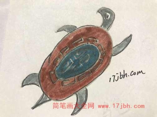 乌龟彩色简笔画