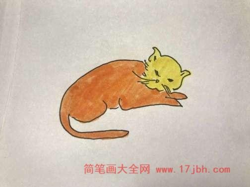 小猫睡觉图片简笔画