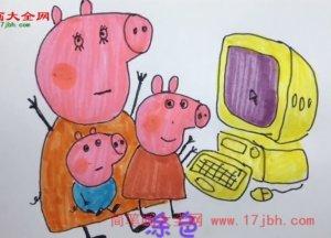 小猪佩奇简笔画图片大全集