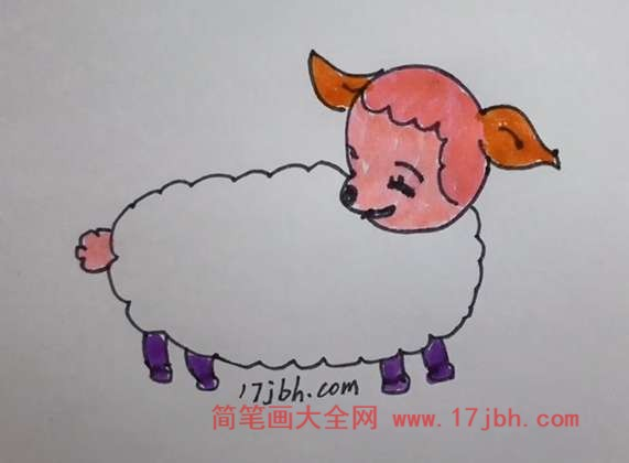 羊的简笔画涂色