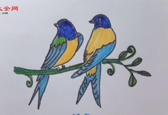燕子的简笔画加上彩色