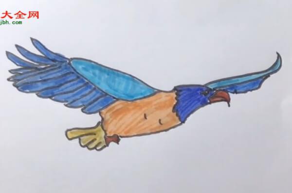 飞翔的老鹰简笔画步骤
