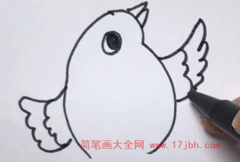 卡通小鸟简笔画步骤图