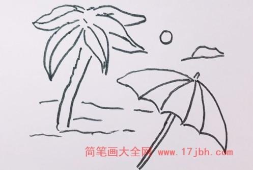 沙滩风景简笔画