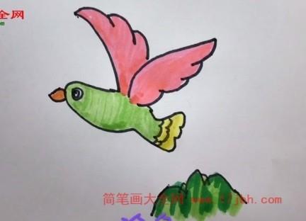 小鸟飞简笔画