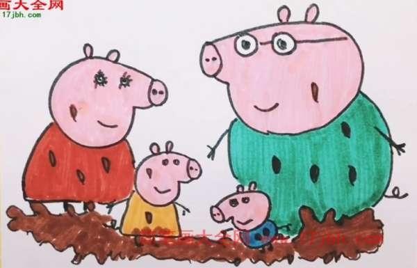 小猪佩奇一家简笔画
