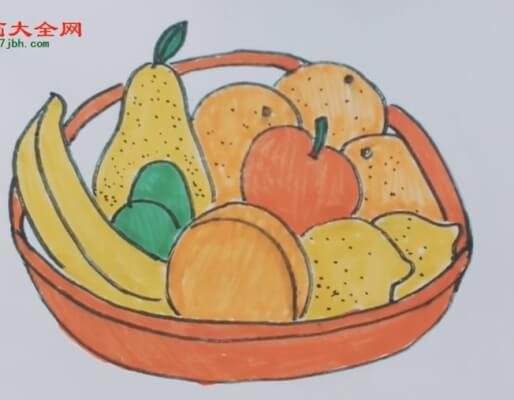 彩色水果篮简笔画