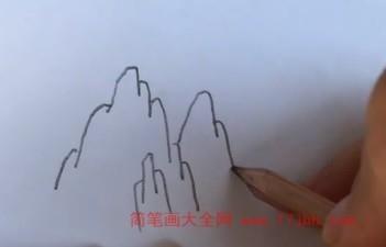 大山简笔画带颜色