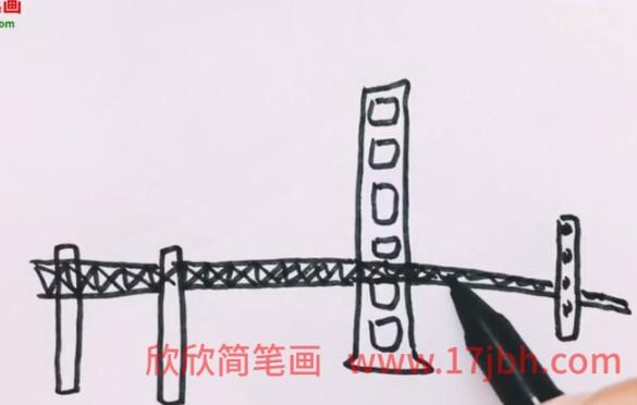 斜拉桥简笔画图片
