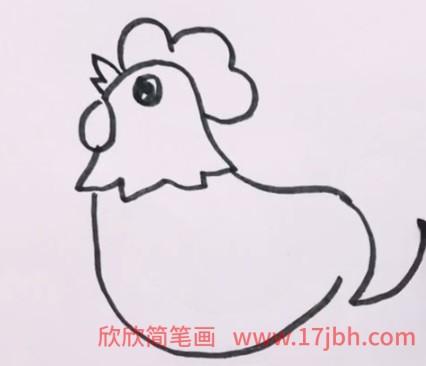 小公鸡简笔画可爱