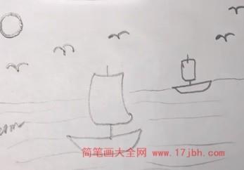 河边风景简笔画