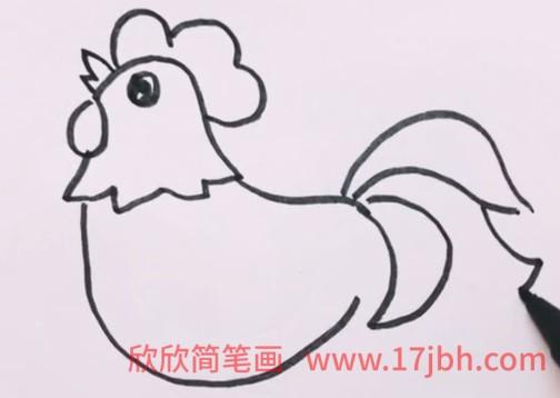 公鸡简笔画可爱