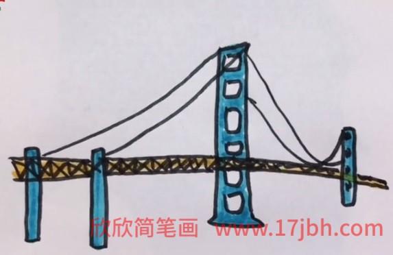 斜拉桥简笔画