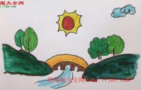 大山风景简笔画
