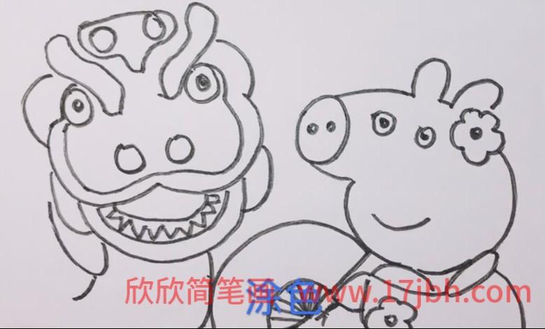 小猪佩奇过年简笔画