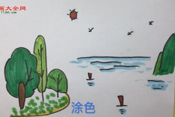 彩色春天风景简笔画