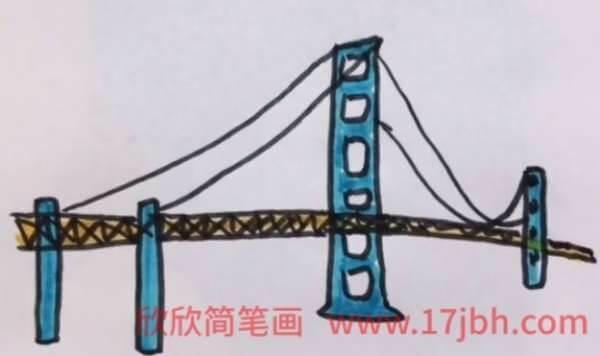 斜拉桥简笔画图片大全
