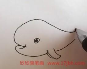 鲸鱼喷水简笔画