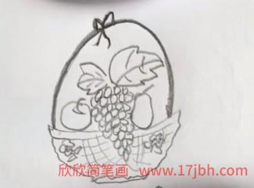 水果篮简笔画