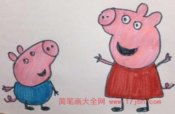 小猪佩奇简笔画彩色
