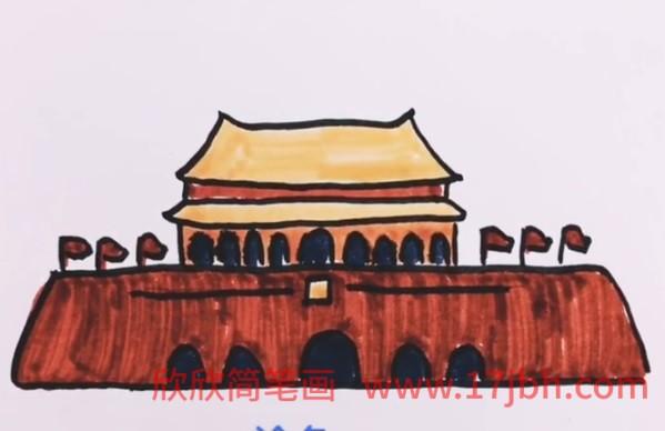 天安门简笔画图片大全彩色