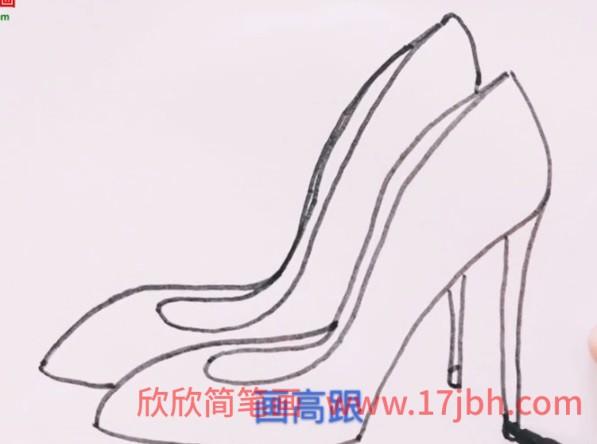 高跟鞋简笔画步骤