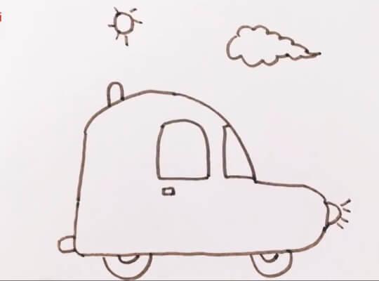小汽车卡通简笔画