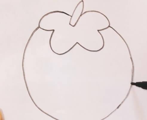 柿子简笔画步骤