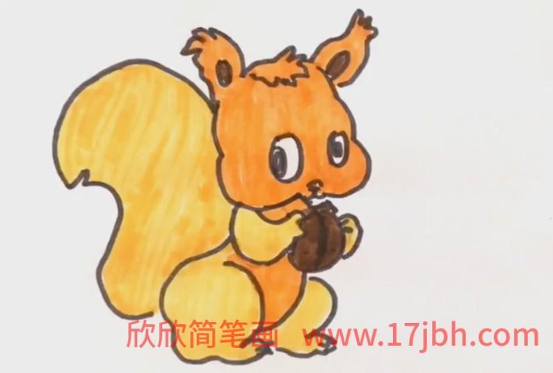 松鼠简笔画图片加颜色