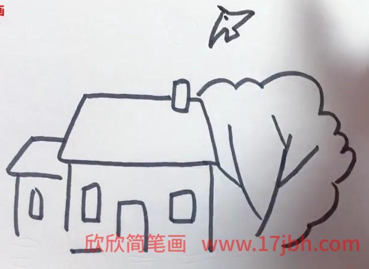儿童简笔画房子和风景