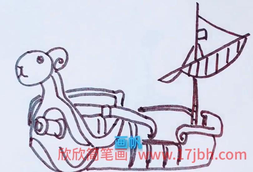 航海王黄金梅利号简笔画