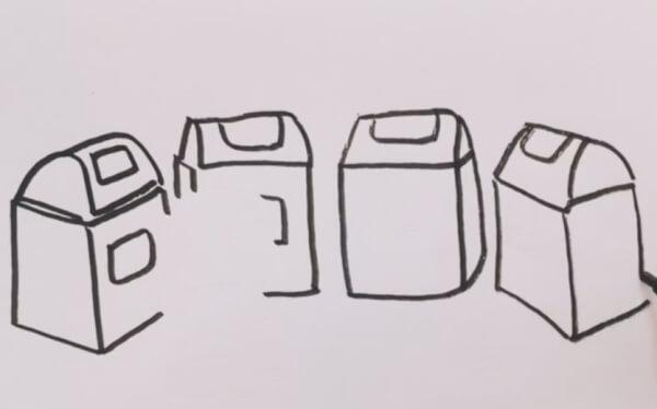 四种垃圾桶简笔画