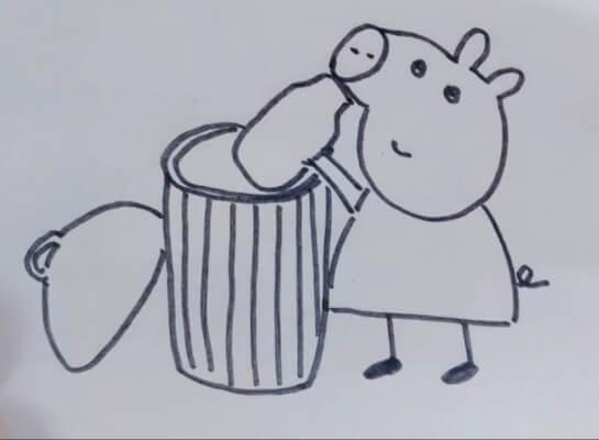 垃圾桶简笔画步骤