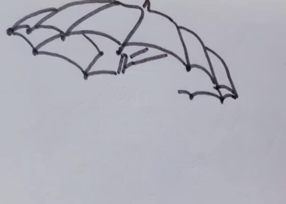 打雨伞的女孩简笔画